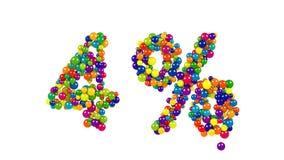 形成百分之四标志的气球球 免版税库存图片