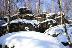 形成石灰岩地区常见的地形山波兰stolowe 库存照片