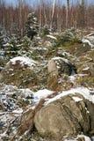 形成石灰岩地区常见的地形山波兰stolowe 库存图片