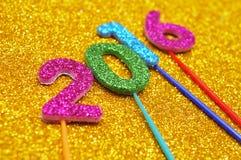 形成第的闪烁的数字2016年,作为新年 免版税库存图片