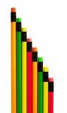形成线路铅笔的明亮的对角线 免版税库存照片