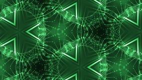 形成细胞微粒的复杂绿色构成 3d使与万花筒的使光滑的微粒动画成环 股票视频