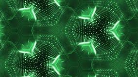 形成细胞微粒的复杂绿色构成 3d使与万花筒的使光滑的微粒动画成环 股票录像