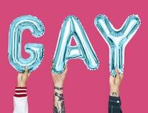 形成词同性恋者的蓝色字母表气球 库存照片