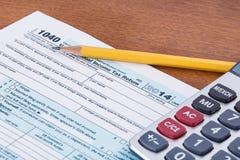 形成1040 2014税年 免版税库存图片