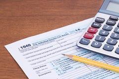形成1040 2014税年 免版税图库摄影