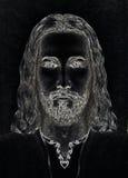 形象艺术设计,耶稣基督,计算机拼贴画版本的面孔 目光接触 精神概念 库存例证