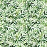 水彩一点浅绿色的叶子无缝的纹理 免版税库存图片