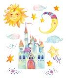 水彩与不可思议的城堡、太阳、月亮、逗人喜爱的小的星和神仙的云彩的童话汇集 免版税库存照片