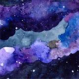水彩与发光的星的空间纹理 与油漆冲程和泼的夜满天星斗的天空 也corel凹道例证向量 库存图片