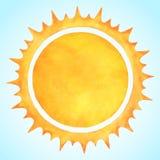 水彩与尖冠的传染媒介太阳 免版税图库摄影