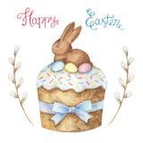 水彩与巧克力兔宝宝的复活节蛋糕 向量例证