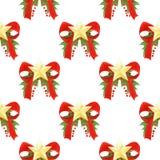 水彩与红色的圣诞节样式鞠躬,金黄星、霍莉叶子和莓果 无缝背景的节假日 免版税图库摄影