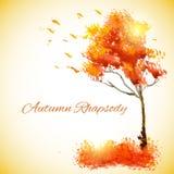 水彩与落的叶子的秋天树 库存照片