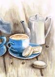 水彩与蓝色杯子的茶具和铁罐和macarons 皇族释放例证