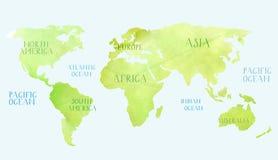 水彩世界地图 免版税库存照片