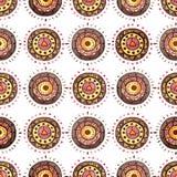 水彩东方五颜六色的装饰品无缝的重复样式 库存图片