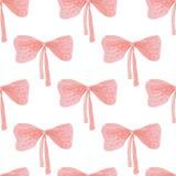 水彩丝带弓的无缝的样式 免版税库存图片