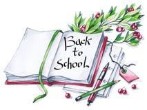 水彩书、笔,铅笔,花卉和文本 回到学校的书法词 葡萄酒教育背景 标志  免版税图库摄影