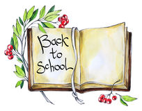 水彩书,花卉和文本 回到学校的书法词 葡萄酒教育背景 学校的标志 库存图片