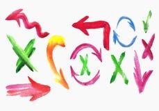 水彩五颜六色的剪影箭头集合。 图库摄影