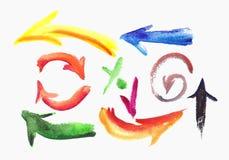 水彩五颜六色的剪影箭头集合。 库存图片