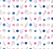 水彩五颜六色的莓果和小点重复样式 库存照片