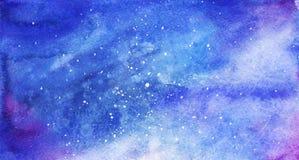 水彩五颜六色的满天星斗的空间星系星云背景 免版税库存图片