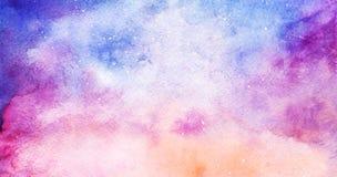 水彩五颜六色的满天星斗的空间星系星云背景 图库摄影
