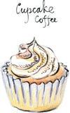 水彩传染媒介杯形蛋糕咖啡 库存照片
