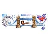 水彩伦敦例证 大英国手拉的标志 向量例证