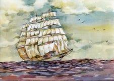 老船在日落水彩例证的海 库存例证