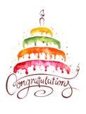 水彩例证--蛋糕和祝贺 免版税库存照片