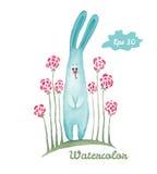 水彩兔子手拉的例证 免版税图库摄影