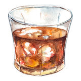 水彩兰姆酒威士忌酒冰被隔绝的酒精鸡尾酒 库存照片