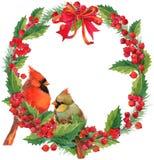 水彩冬天圣诞节花圈和鸟与槲寄生、莓果和圣诞树 库存图片