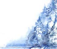 水彩冬天多雪的松木森林风景 免版税图库摄影