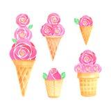 水彩冰淇凌集合 库存图片