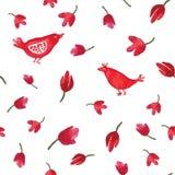 水彩动画片红色鸟和花无缝的样式 库存照片