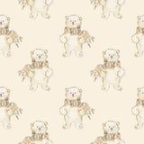 水彩北极熊无缝的样式 库存图片