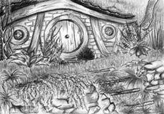 水彩单色黑白hobbit的回家 免版税库存图片