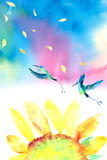 水彩向日葵蜂鸟背景 免版税图库摄影
