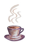 水彩咖啡杯 免版税图库摄影