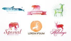 水彩商标模板 在水彩技术的五颜六色的动物剪影 免版税库存图片