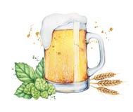 水彩啤酒杯和瓶 免版税库存图片
