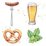 水彩啤酒杯和瓶 图库摄影