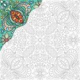 彩图正方形页 绘的装饰花饰 库存例证