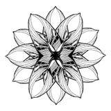 彩图的圆的坛场元素 黑色蝴蝶花卉花纹花样白色 免版税库存照片