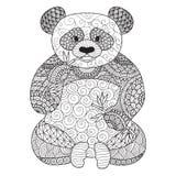 彩图的手拉的zentangle熊猫成人的,纹身花刺,衬衣设计,商标等等 库存图片