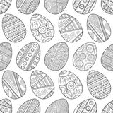 彩图的无缝的黑白样式复活节彩蛋 图库摄影